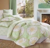 """2-х спальное постельное бельё-Евро """"Светлые мандалы на зелёном"""""""