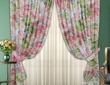 Классические шторы Порта (розово-фисташковый)