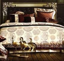 """2-х спальное постельное бельё-Евро + 4 наволочки """"Золотой фазан"""""""