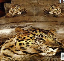 "2-х спальное постельное бельё-Евро ""Леопард в сухой траве"""