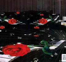 """2-х спальное постельное бельё-Евро """"Клавиши и роза"""""""