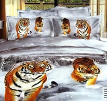 """2-х спальное постельное бельё-Евро """"Амурские тигры"""""""
