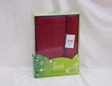 """Набор бамбуковых полотенец в подарочной упаковке 2шт.""""Sikel-бордо"""""""