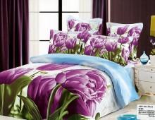 """2-х спальное постельное бельё-Евро """"Сиреневые тюльпаны"""""""