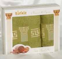 """Набор полотенец  для лица и тела  хлопок в подарочной упаковке """"Turkiz-фисташковое"""""""