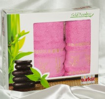 """Набор бамбуковых полотенец в подарочной упаковке """"Turkiz-розовое"""""""