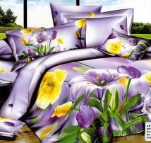 """2-х спальное постельное бельё-Евро """"Жёлто-фиолетовые цветы"""""""