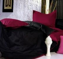 """2-х спальное двухцветное постельное бельё-Евро на резинке """"Чёрно-алое"""""""