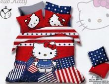 """Полутороспальное постельное бельё """"Hello Kitty красное"""""""