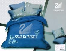 """Двухспальное постельное бельё """"Swarovski на голубом"""""""