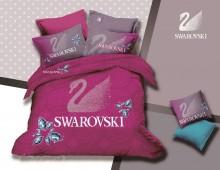 """Двухспальное постельное бельё """"Swarovski на розовом"""""""