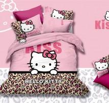 "Двухспальное постельное бельё -Евро ""Hello Kitty леопард"""