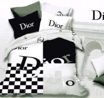 """Двухспальное постельное бельё """"Dior шахматы"""""""