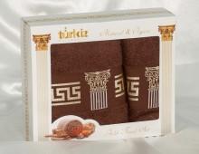 """Набор полотенец  для лица и тела  хлопок в подарочной упаковке """"Turkiz-шоколад"""""""