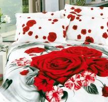 """""""Красные розы на белом"""" 2-х спальное бельё танго (наволочки 50x70)"""