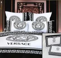 """2-х спальное постельное бельё - Евро """"Versace белое на чёрном"""""""