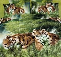 """2-х спальное постельное бельё """"Тигры на охоте"""""""
