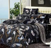 """2-х спальное постельное бельё-Евро """"Черная ночь"""""""