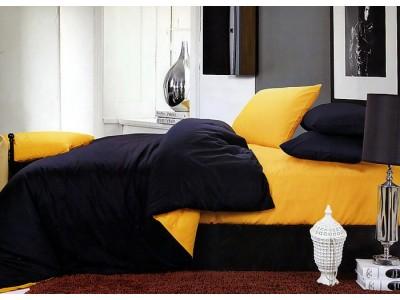 """Двухцветное 2-х спальное постельное бельё-Евро на резинке """"Сине-жёлтый"""", 302082"""