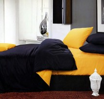 """Двухцветное 2-х спальное постельное бельё-Евро на резинке """"Сине-жёлтый"""""""