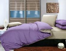 """Двухцветное 2-х спальное постельное бельё-Евро на резинке """"Сиренево-серый"""""""