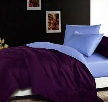 """Двухцветное 2-х спальное постельное бельё-Евро на резинке """"Фиолетово-голубой"""""""