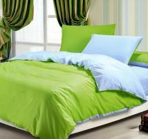 """Двухцветное 2-х спальное постельное бельё-Евро на резинке """"Салатово-голубой"""""""