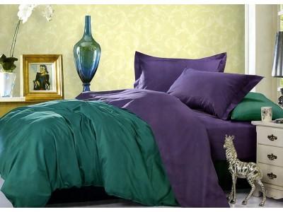 """Двухцветное 2-х спальное постельное бельё-Евро на резинке """"Болотно-фиолетовый"""", 302088"""