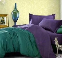 """Двухцветное 2-х спальное постельное бельё-Евро на резинке """"Болотно-фиолетовый"""""""