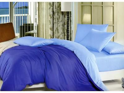 """Двухцветное 2-х спальное постельное бельё-Евро на резинке """"Сине-голубой"""", 302096"""
