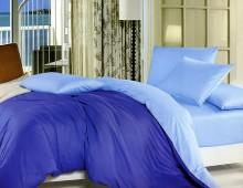 """Двухцветное 2-х спальное постельное бельё-Евро на резинке """"Сине-голубой"""""""