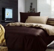 """Двухцветное 2-х спальное постельное бельё-Евро на резинке """"Шоколадно-бежевый"""""""