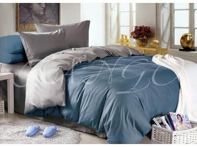 """Двухцветное спальное постельное бельё-Евро """"Серо-голубой"""", 302103"""