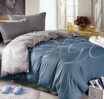 """Двухцветное спальное постельное бельё-Евро """"Серо-голубой"""""""