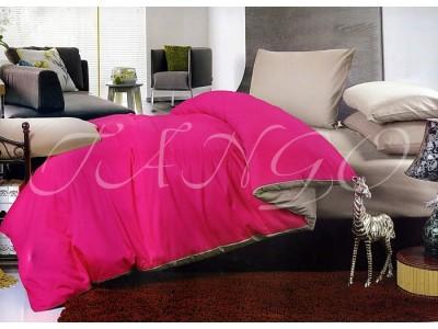 """Двухцветное спальное постельное бельё-Евро """"Розово-серый"""", 302080"""