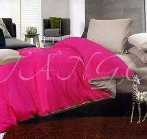"""Двухцветное спальное постельное бельё-Евро """"Розово-серый"""""""