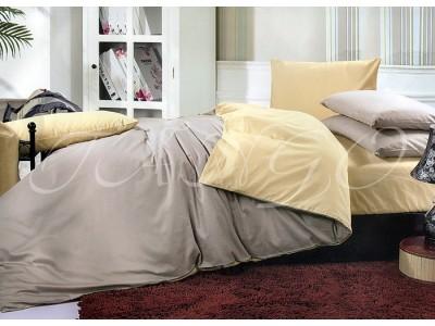 """Двухцветное спальное постельное бельё-Евро """"Серо-бежевый"""", 302081"""