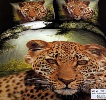 """2-х спальное постельное бельё-Евро """"Леопард в лесу"""""""