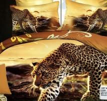 "2-х спальное постельное бельё-Евро ""Леопард крадётся"""