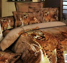 """2-х спальное постельное бельё-Евро """"Леопарды бегут"""""""