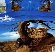 """2-х спальное постельное бельё-Евро """"Леопард и сухое дерево"""""""