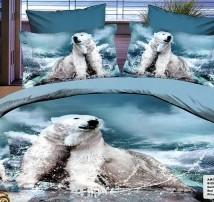 """2-х спальное постельное бельё -Евро """"Белый медведь на охоте"""""""
