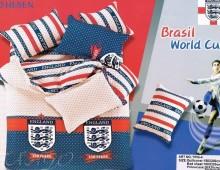 """Двухспальное постельное бельё-Евро +4 наволочки """"Футбол ENGLAND"""""""