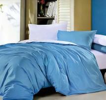 """2-х спальное двухцветное постельное бельё-Евро на резинке """"Голубой с белым"""""""