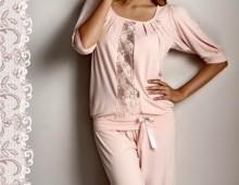 Пижама Длинная Luisa Maretti.  Оранжево-розовая.