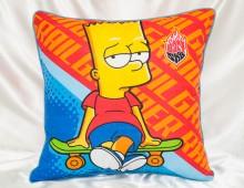 """Подушка детская Шёлк искусственный 45х45 """"Барт Симпсон"""""""