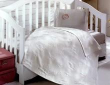 """Детское покрывало в кроватку с простынёй и наволочкой """"Белое Хеллоу Китти"""""""