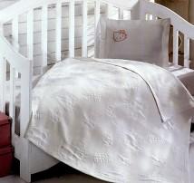 """Детское покрывало в кроватку с простынёй и наволочкой  """"Белое Hello Kitty"""""""