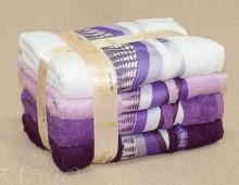 """набор полотенец  для тела и лица в подарочной упаковке 4шт. бамбук """"Gobel-сиреневое"""""""