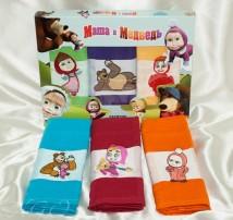 """Набор детских вафельных полотенец в подарочной коробке """"Маша и медведь"""""""